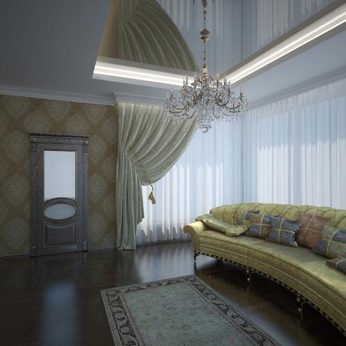 Натяжные потолки для классической гостиной
